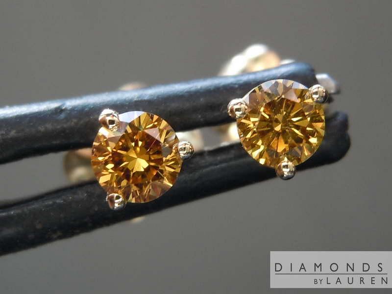 orange diamond earrings