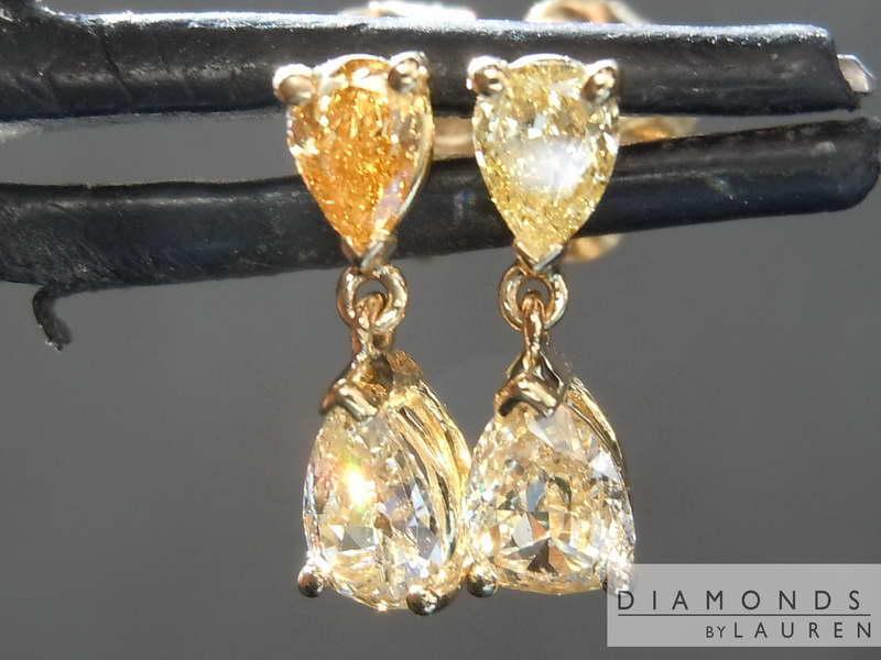 near yellow diamond earrings