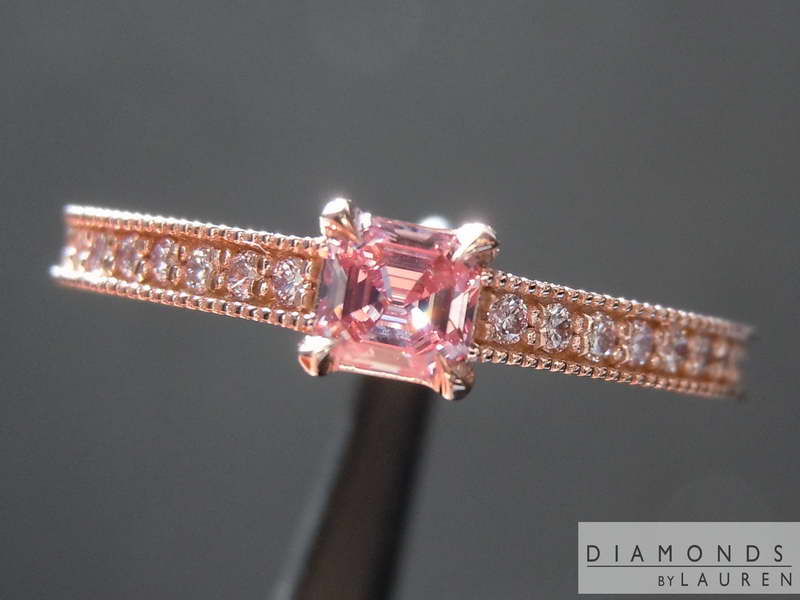 bubble gum pink diamond ring