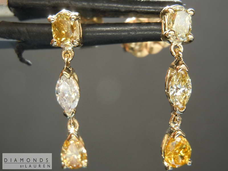Details About 0 76ctw Yellow Diamond Dangle Earrings R8432 Diamonds By Lauren