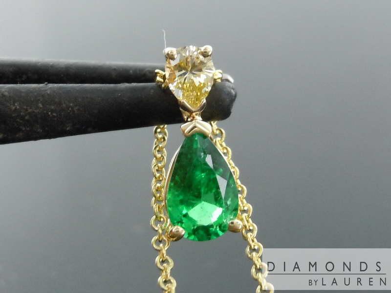 emerald pear pendant