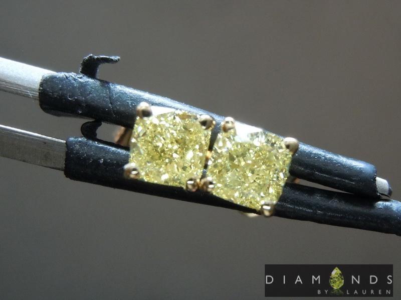 natural yellow diaamond earrings