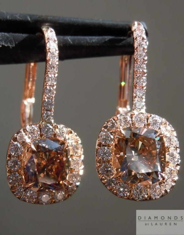 natural brown diamond earrings