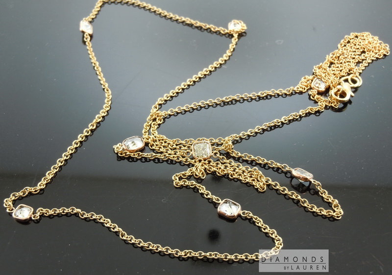 natural yellow diamond necklace