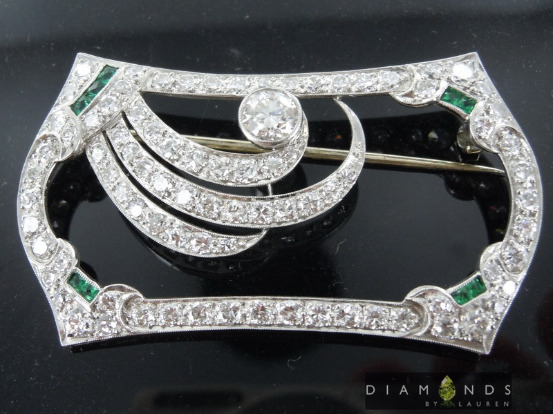 emerald vintage diamond brooch