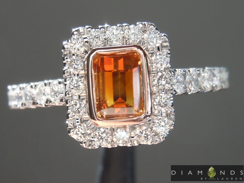 natural orange diamond ring