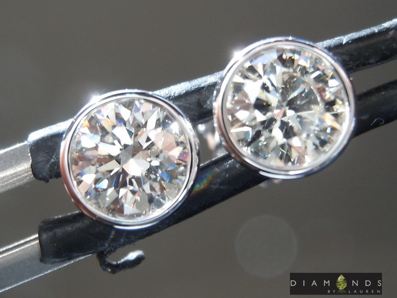 faint brown diamond earrings