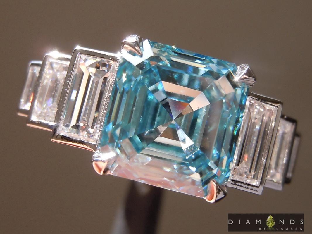 lab blue diamond ring