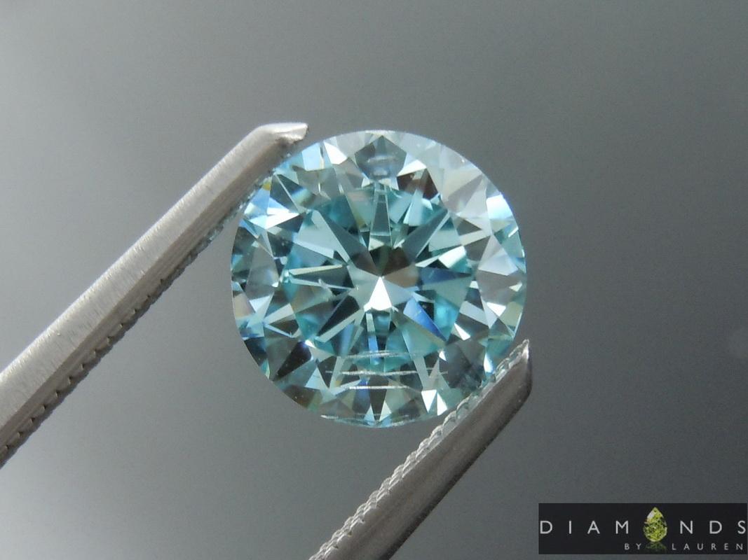 blue lab grown diamond earrings
