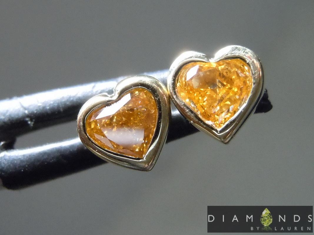 natural orange diamond earrings