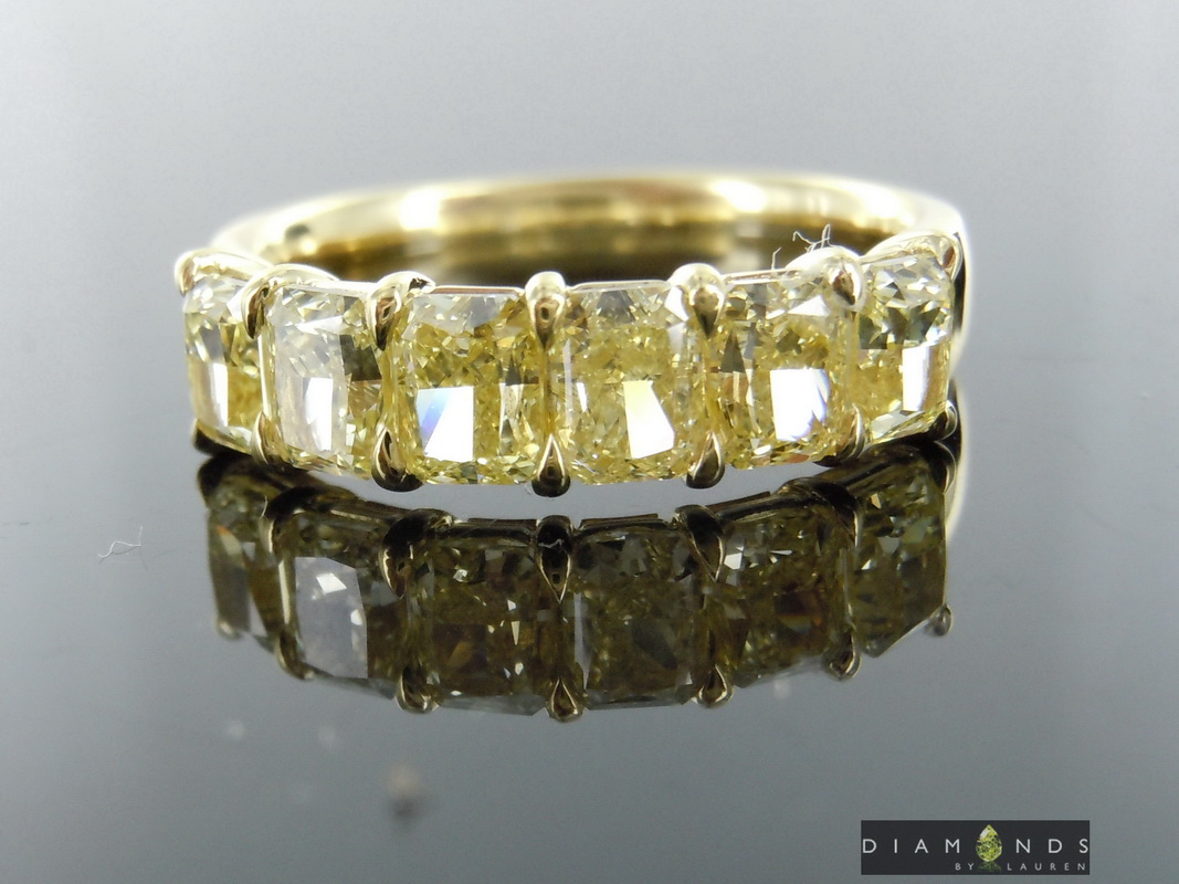 yellow radiant diamond band