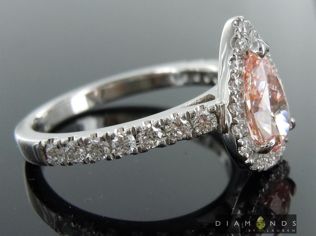 lab pink diamond ring