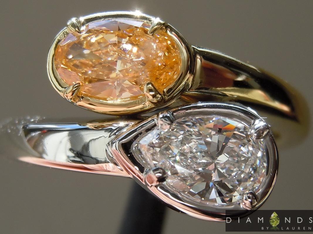 natural orange diamond ring