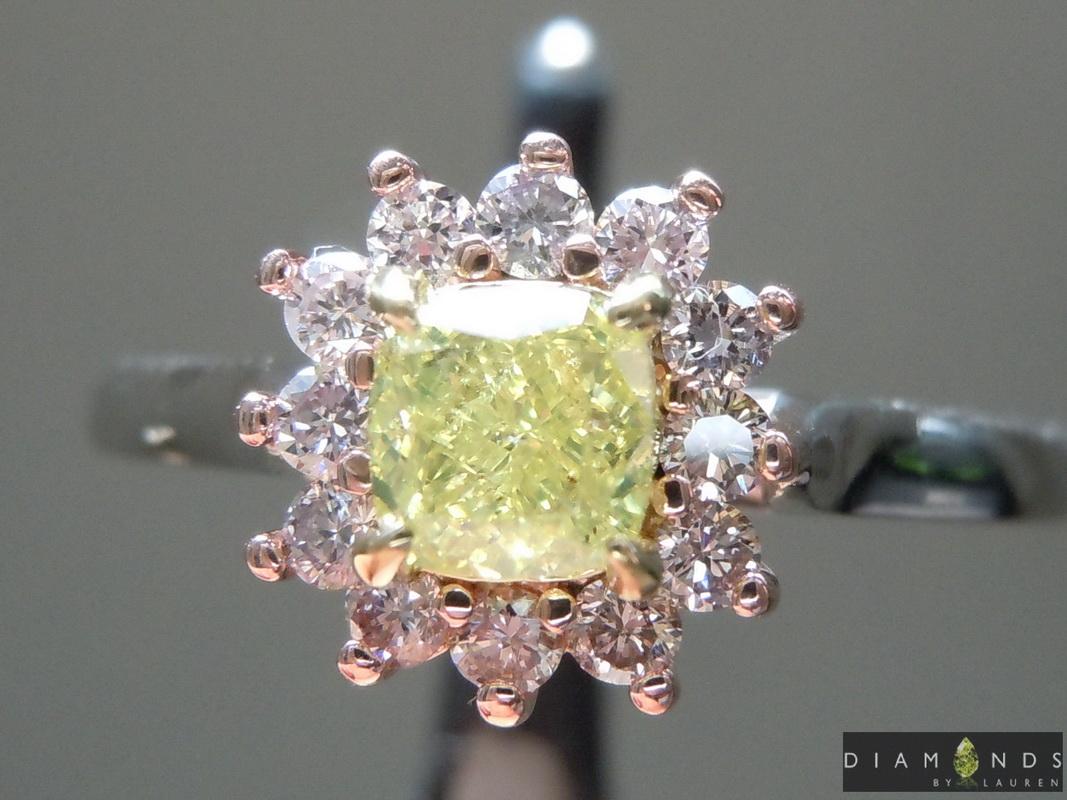 greenish diamond ring