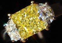 SOLD.....Thee Stone Diamond Ring: Intense Yellow Princess Cut Diamond GIA Report Platinum HALF MOON R2149