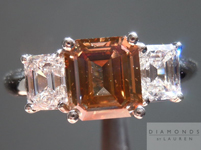 SOLD....Three Stone Ring: 1.55ct Brown Emerald Cut with Colorless Asscher-like Emerald Diamonds R1828