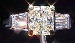 SOLD.....Three Stone Diamond Ring: 1.12ct Faint Yellow Double Baguette Ring TRADE UP SPECIAL R1847
