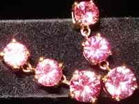 SOLD.....Sapphire Dangle Earrings: HOT Pink Sapphire, Pink Gold R2227