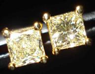 SOLD....Diamond Earrings: .64ct TW Princess Cut Diamond Studs in luscious Yellow R2026