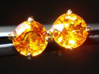 SOLD....Sapphire Stud Earrings: 1.26CTW Amber  Round Brilliant Sapphire R2262