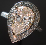 SOLD.....Halo Ring: Light Pink Pear Shape Halo RIng GIA R1422