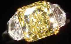 SOLD....Three Stone Diamond Ring: 2.35.  Awesome Cut Yellow Radiant TRADE UP SPECIAL R2363