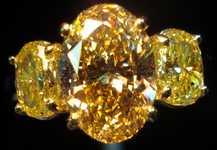 SOLD....Three Stone Diamond Ring:2.50ct Deep Brownish Yellow Oval GIA Lemone Yellow Side diamonds R2486