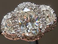 SOLD.... Diamond Ring: 1.14ct Oval Shape I/VS2 GIA Three Stone Halo Ring R1963