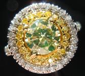 SOLD....Diamond Halo Ring: .91 Fancy Light Greenish Yellow Round Diamond VS1 GIA  Double Halo R2347