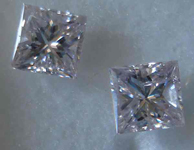 SOLD.....Matching Purple diamonds: Natural Light Purple Princess Cuts R2531