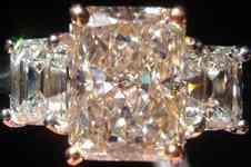 SOLD....Pink Diamond Ring: 2.00 Light Brown Radiant Diamond VVS2 GIA- Emerald Sides R2620