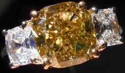 SOLD....Three Stone Diamond Ring: 2.51ct Yellow Brown Cushion Diamond GIA Peach CUSHION SIdes R2635