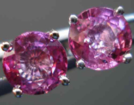 SOLD....Pink Sapphire Earrings:  1.54 TCW Natural Pink Sapphires Martini Set Bubblegum Color R2686