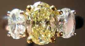 SOLD....Three Stone Diamond Ring: .74ct Fancy Yellow Oval Colorless Sides GIA SAM SPADE SPECIAL R2699