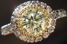 SOLD...Halo Diamond Ring:.95ct EXCELLENT Cut Grade GIA Y-Z Round Diamond R2751