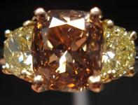 SOLD....Three Stone Diamond Ring: 1.76ct Fancy Orange-Brown Cushion Fancy Yellow Half Moon Diamond Ring R2648