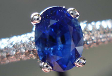SOLD....Sapphire Diamond Ring: 1.66 BLue Oval Bedazzled with Diamonds R2778