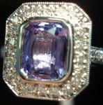 SOLD.....Sapphire Diamond Ring: Purple 1.65ct Halo Sapphire Diamond Ring R2788