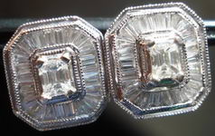 SOLD.....Diamond Earrings- Emerald and Baguette Diamonds in Platinum Website SPECIAL R1606