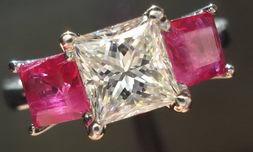 SOLD...Three Stone Ring: 1.05 I VS2 Princess Diamond and Ruby white gold R1562