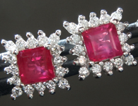 SOLD..Ruby and Diamond Earrings: .98ct Red Princess Cut Rubyand Diamond Halo Earrings R2802