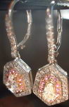 SOLD.....Dangle Kite Diamond Earrings: Pink Sapphire Halo R2766