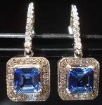 SOLD.... Sapphire Asscher Cut Halo Earrings; 2.26ct Tw Periwinkle Blue Gorgeous R2818