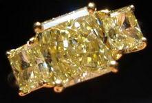 SOLD....Three Stone Diamond Ring: 1.83ct Fancy Light Yellow VVS2 GIA Radiant- 3.00ct Tw R2831