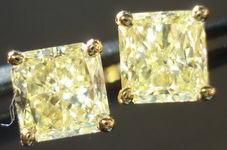 SOLD....Diamond Earrings: 1.40ct tw Light Yellow Radiant Studs 18kt YG R2841