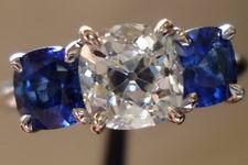 SOLD....Three Stone Diamond and Sapphire Ring: 1.17ct Old Mine Brilliant Diamond GIA Rich color Custom made platinum ring R2864