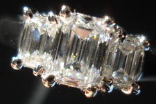 SOLD...Three Stone Diamond Ring: 1.00 TW Emerald Cut Underwire design Great Cut R2886