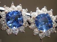 SOLD...Sapphire Earrings: Platinum Halo Gem quality Earrings R2846