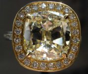 SOLD...Halo Diamond Ring: 3.32 Faint yellow Center in Daussi Platinum 18kt Yellow Gold R2919