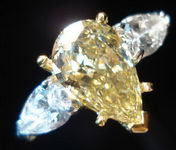 SOLD.....Three Stone Diamond Ring: Lemoney Chocolate Pear Shape Diamond Ring R470